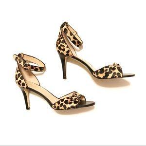 Audrey Brooke Cheetah Leather Peep Toe Heels 10